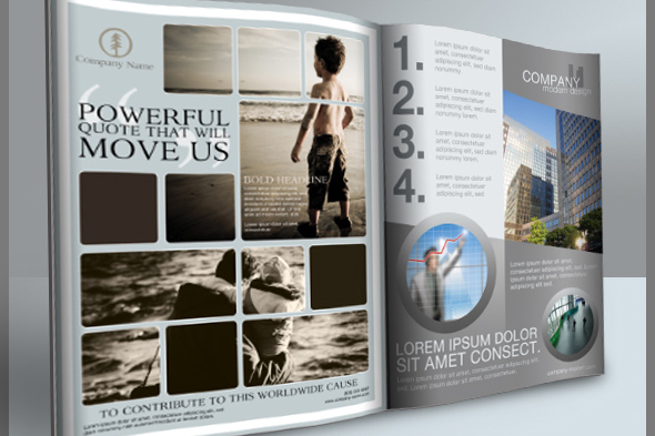 Print Ad Templates and Layouts for Photoshop - Cursive Q Designs