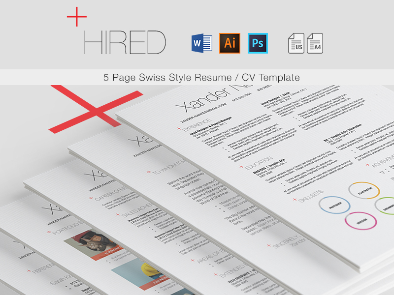 hired - swiss style 5-page resume    cv template