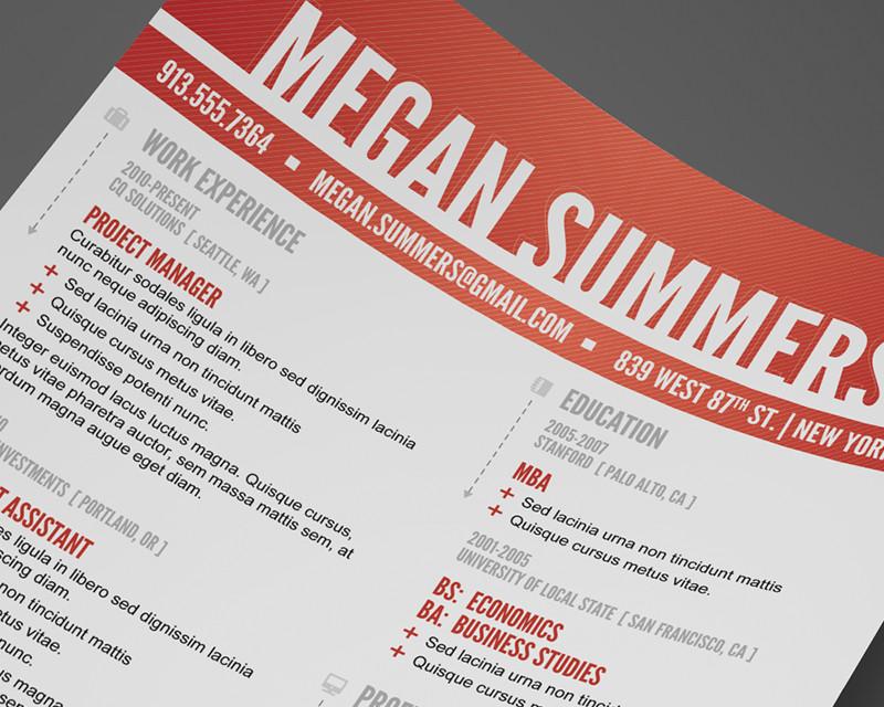 free modern swiss style resume    cv psd template