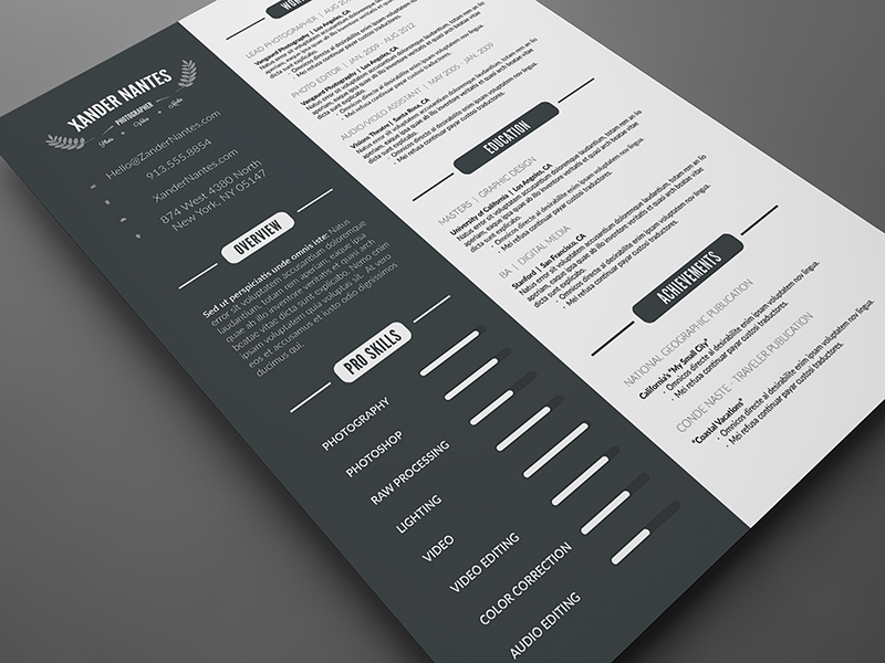 Clean resume template photoshop psd cursive q clean resume template photoshop psd yelopaper Image collections