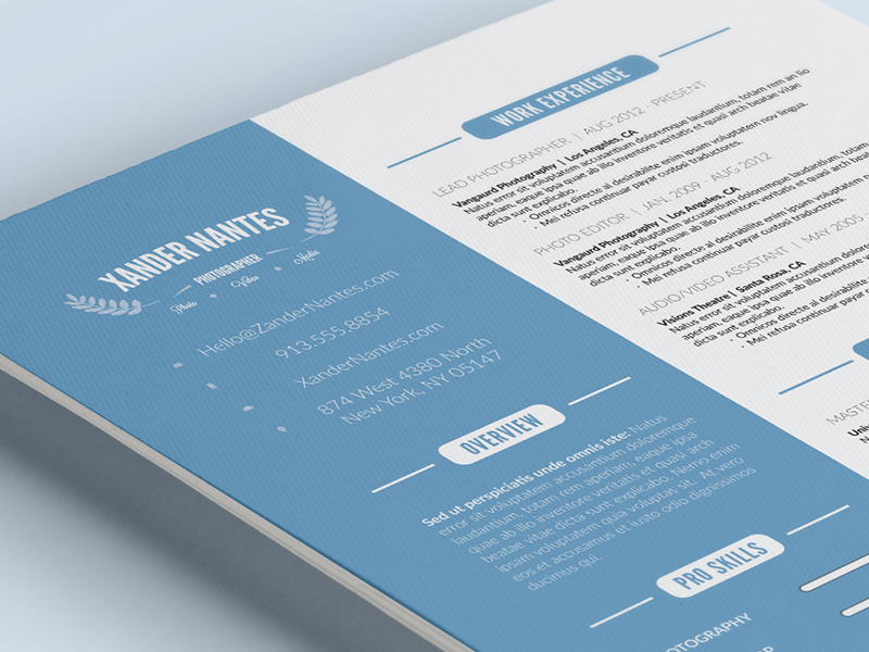 Clean Resume Template Photoshop PSD Cursive Q