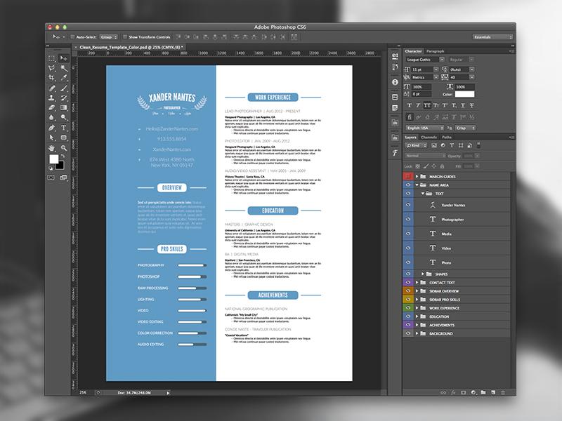 Clean resume template photoshop psd cursive q clean resume template photoshop psd yelopaper Choice Image
