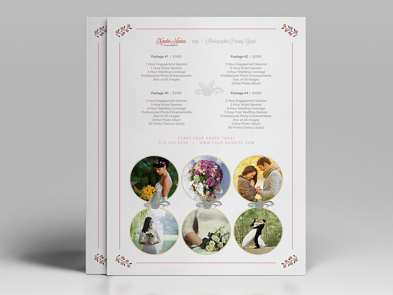 Wedding Photographer Pricing Guide Price Sheet List 5x7