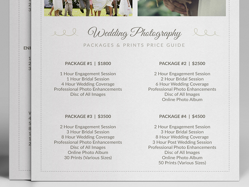 wedding photographer pricing guide price sheet list 5x7 cursive q