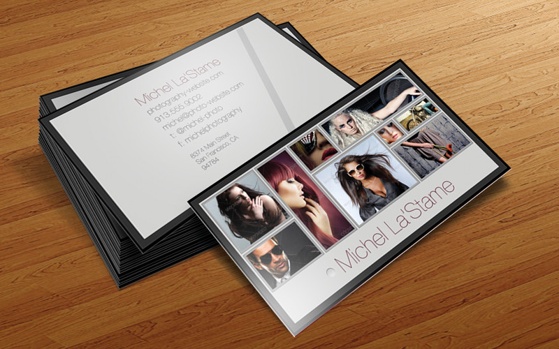 Free photographer business card photoshop template v1 cursive q design specs friedricerecipe Images
