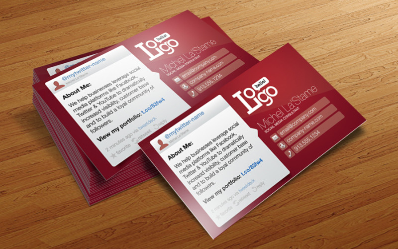 Free Social Media Business Card Template For Photoshop  Cursive Q