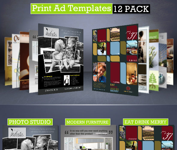 Print Ad Templates 12-Pack Magazine Ads