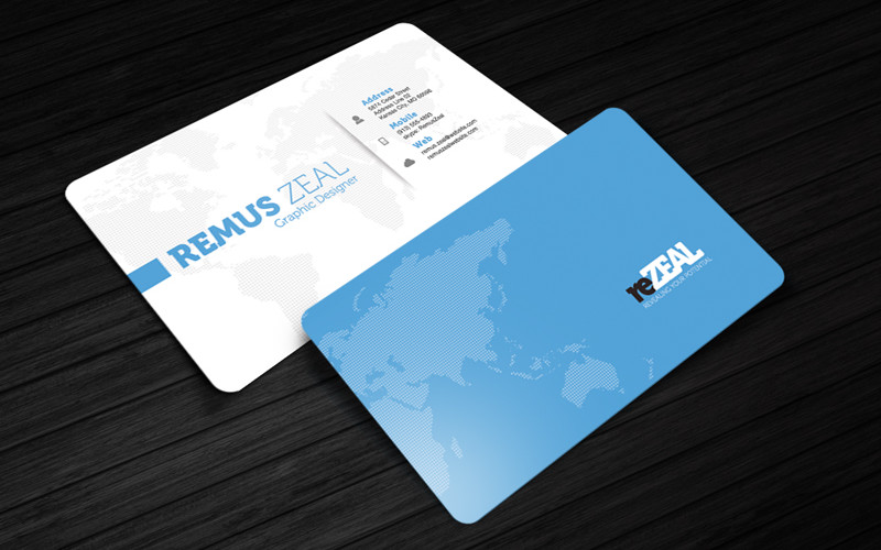 reZEAL - Free Corporate Business Card Photoshop Template | Cursive Q
