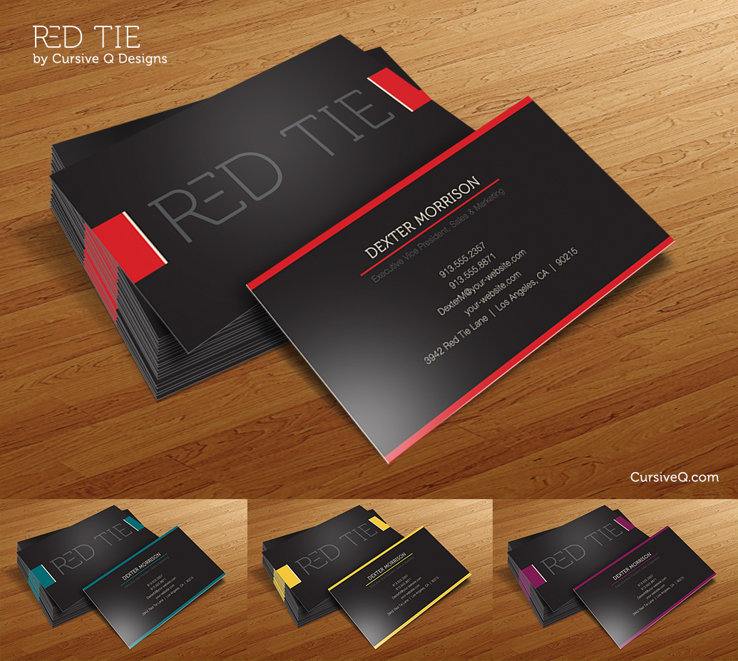 Red Tie Free Business Card Photoshop PSD Template Cursive Q - Business card template photoshop psd