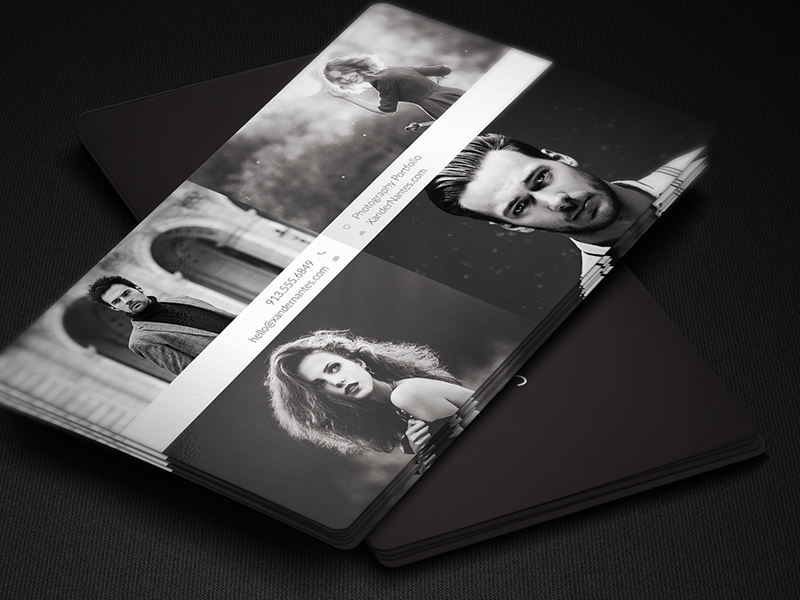 QuadPix - Photographer Business Card Photoshop Template | Cursive Q