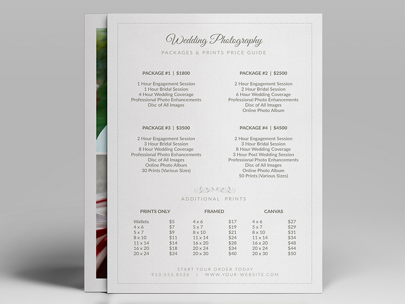 Wedding Photographer Pricing Guide Price Sheet List 5 7 V2 Photo Psd Template