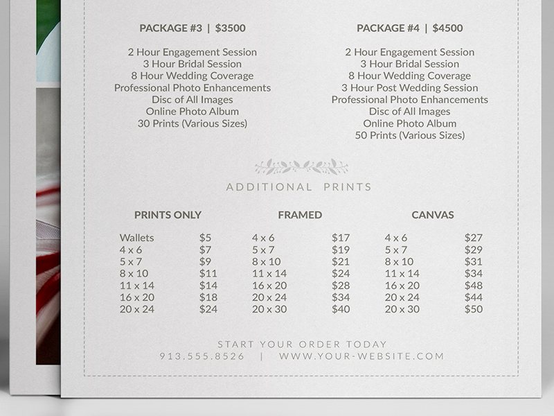 wedding photographer pricing guide    price sheet list 5 u00d77