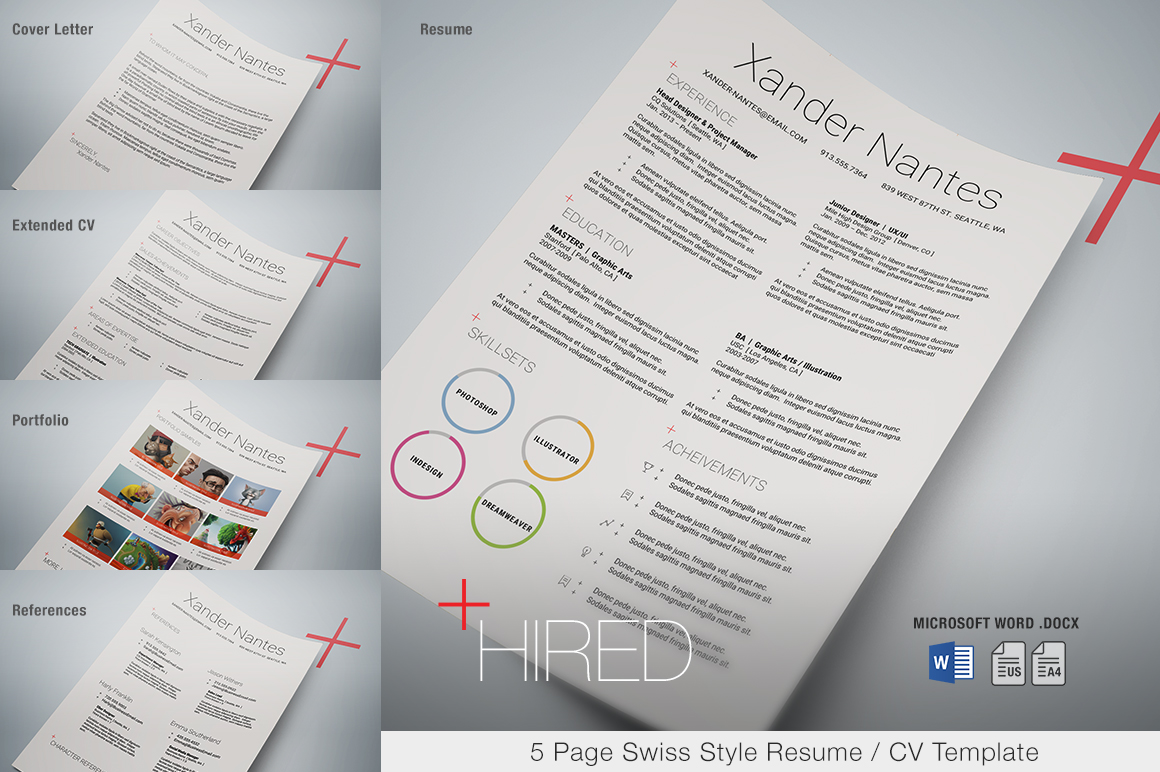 hired - microsoft word resume template - swiss style 5-page resume    cv