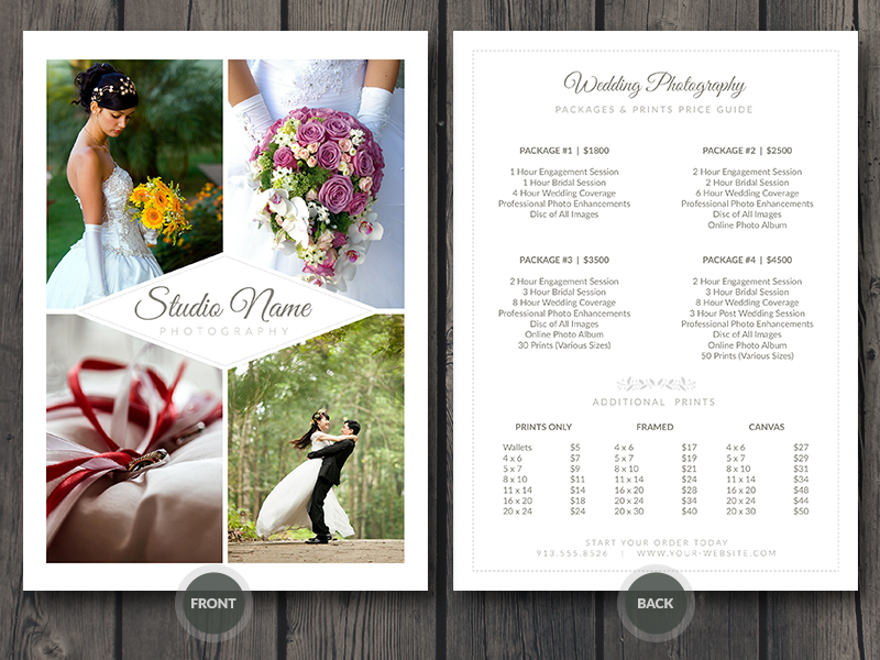 Wedding Photographer Pricing Guide / Price Sheet List 5x7 ...  Price Sheet Template