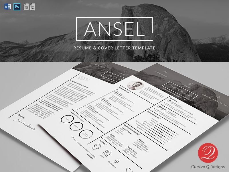ansel resume and cover letter template - Photographer Resume