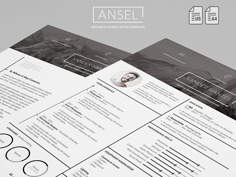 ansel resume and cover letter template cursive q designs