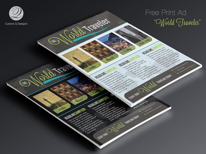 Free World Traveler Print Ad Template Flyer
