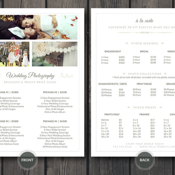 Wedding Photographer Pricing Guide / Price Sheet List 5x7