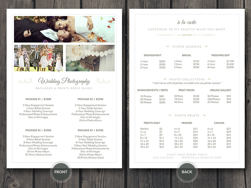 Wedding Photographer Pricing Guide Price Sheet List 5x7 – Pricing Sheet Template