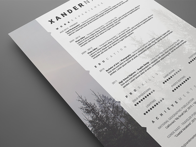 photographer resume template photoshop psd