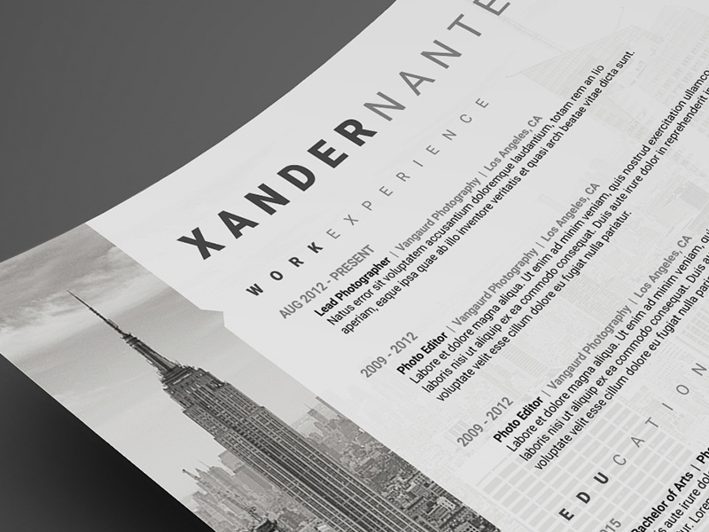 Photographer Resume Photoshop Template