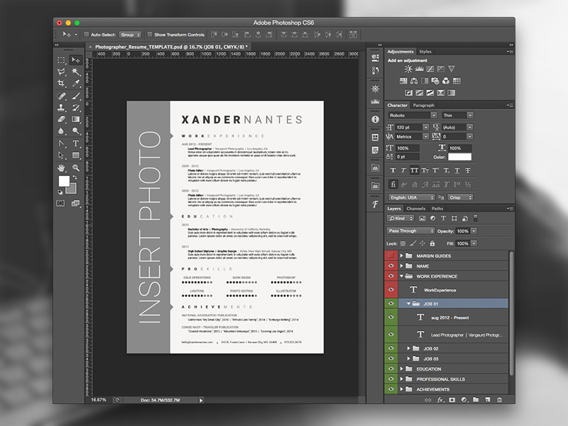 Photographer Resume Template: Photoshop PSD