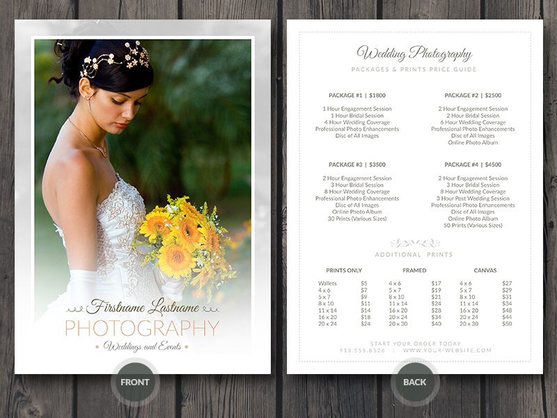 Wedding Photographer Pricing Guide Price Sheet List 5x7 V4 Photoshop PSD Template