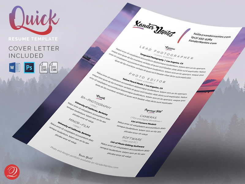 Free social media business card template for photoshop cursive q quick resume and cover letter template reheart Images