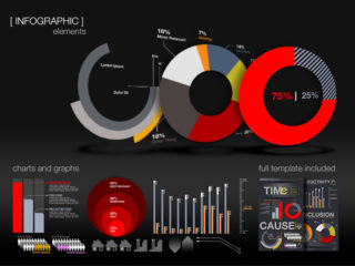 Infographic Chart Elements with Photoshop Template